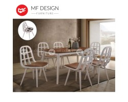 MF DESIGN Tofu Dining Set (1 Table + 6 Chair) - Modern Style [Full Solid Rubber Wood]